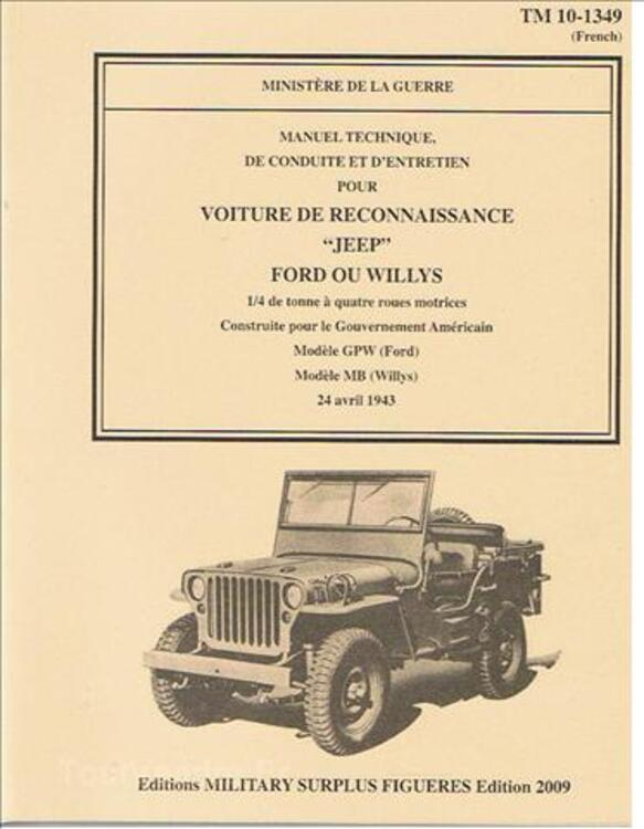 Manuel technique 10-1349 Jeep Willys Ford 1943 69131477