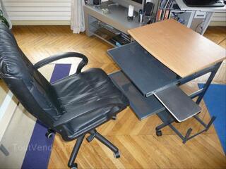 Meuble informatique TBE + chaise cuir de bureau