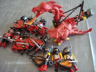 Moyen Age Chateau Chevaliers Dragon Rouge Playmobil