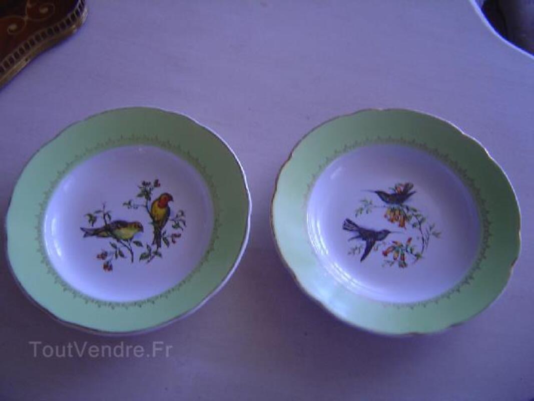 Paire assiettes luneville oiseaux badonviller 89829673
