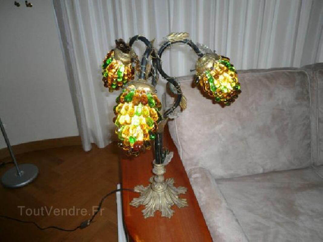 PAIRE DE LAMPES ART DECO bronze,fer forgé, verr. Murano 105413530