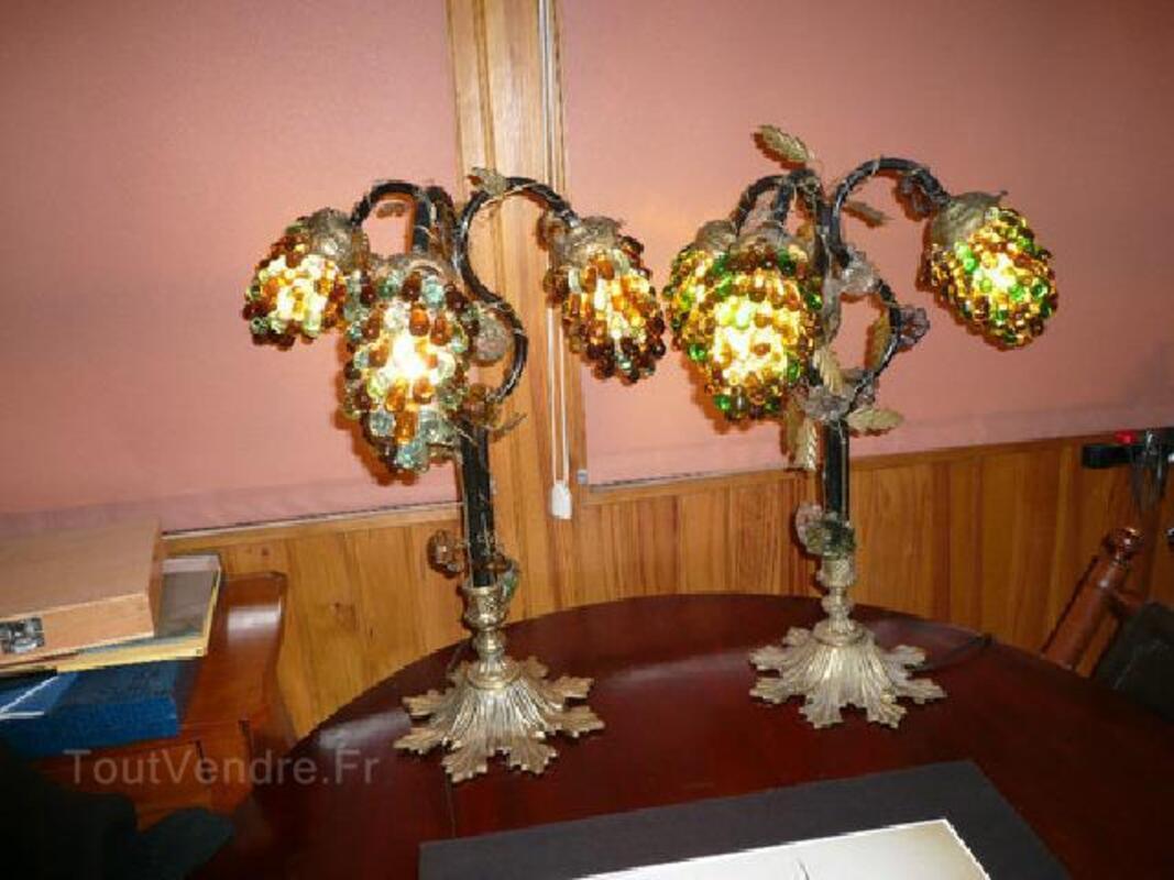 PAIRE DE LAMPES ART DECO bronze,fer forgé, verr. Murano 105413532