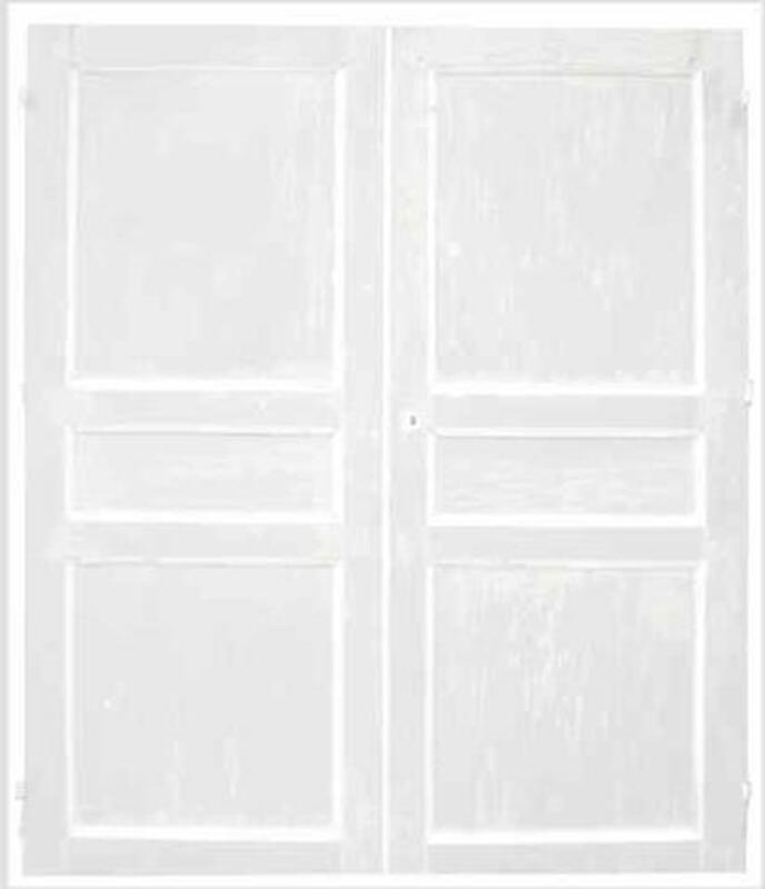 Paire de portes de placard anciennes, laque usée 90815342
