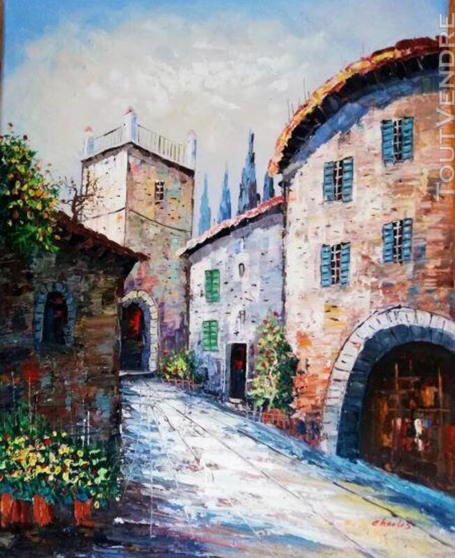 Peinture rue du Moyen âge et tour carrée 641481187