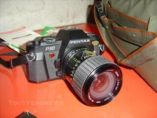 Pentax P30 + flash + ojectif + sacoche et notice