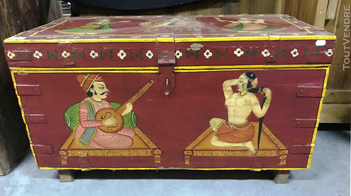 Petit coffre ou malle de rangement peint - H: 42 cm 684918072