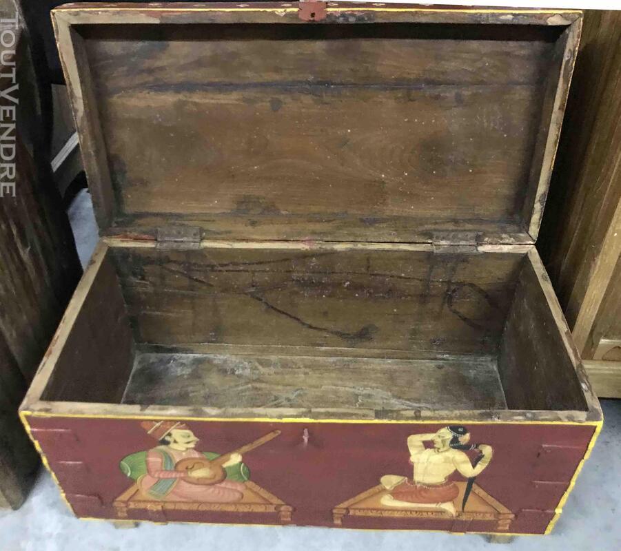 Petit coffre ou malle de rangement peint - H: 42 cm 684919377