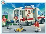 Playmobil - 4221 - Hôpital - Ambulanciers, blessé, vélo