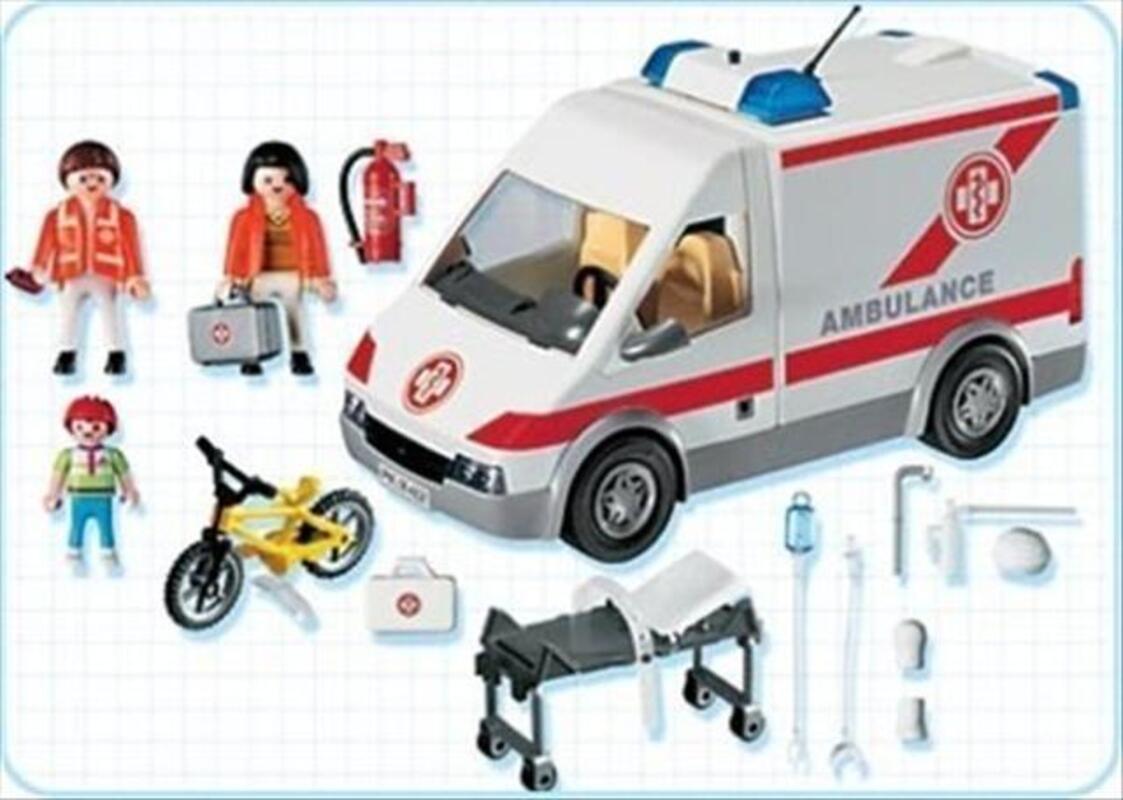Playmobil - 4221 - Hôpital - Ambulanciers, blessé, vélo 71851296