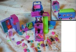 Polly Pocket: Bus musical, poupées,accessoires,armoire