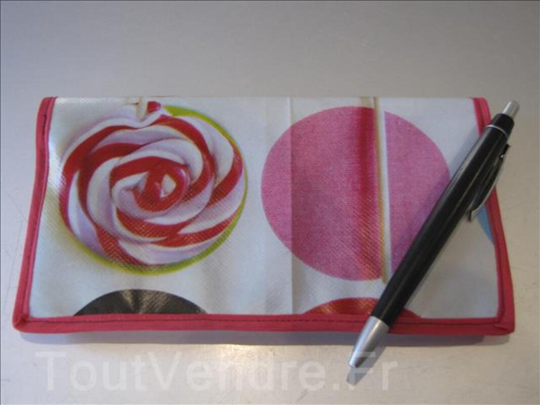 "Porte chéquier / porte carte en toile cirée ""bonbons"" 97616394"