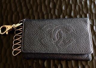 Porte clés Chanel cuir caviar noir