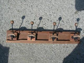 Porte manteaux bois métal 4 patères