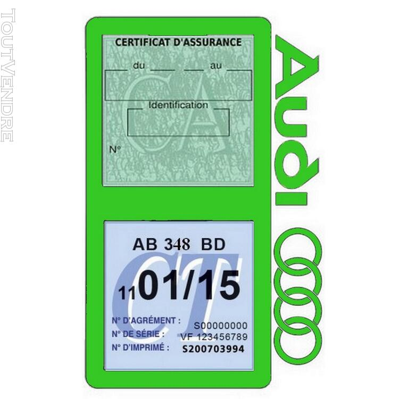 Porte vignette assurance voiture Audi double pochette 650691349