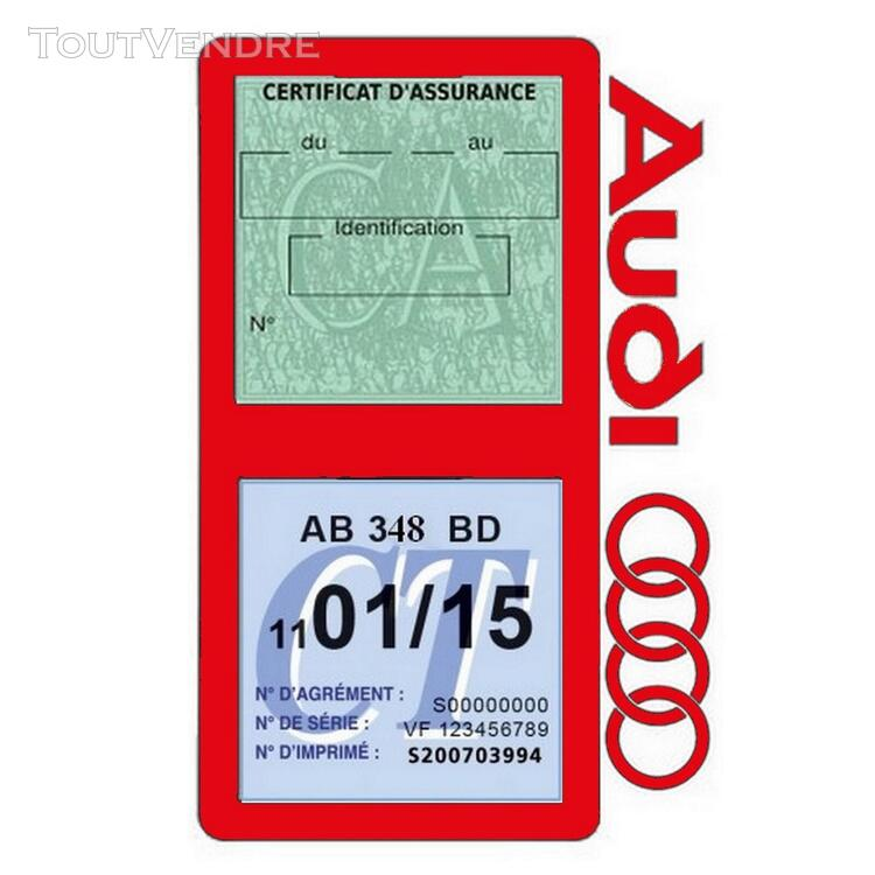 Porte vignette assurance voiture Audi double pochette 650691355