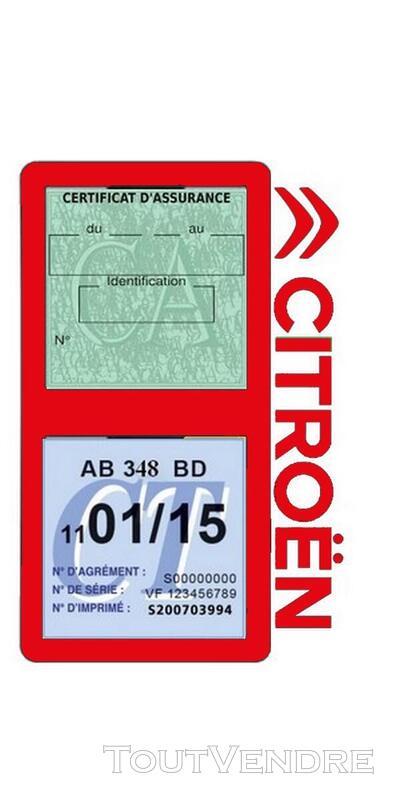 Porte vignette assurance voiture Citroën double pochette 650691574
