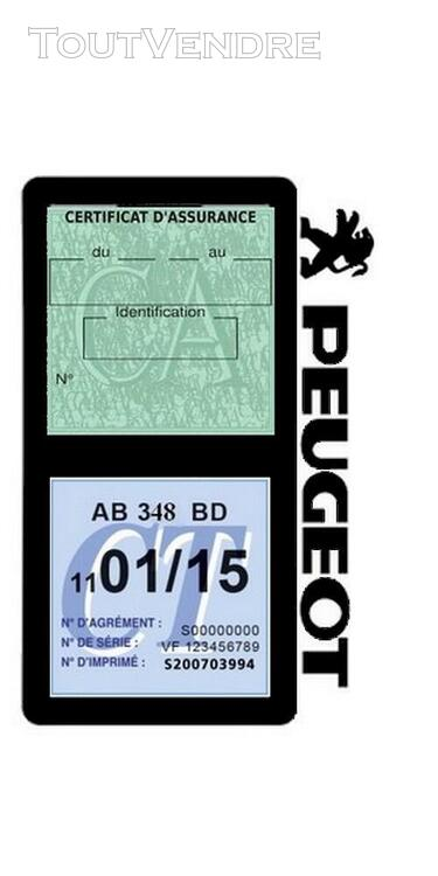 Porte vignette assurance voiture Peugeot double pochette 650691511