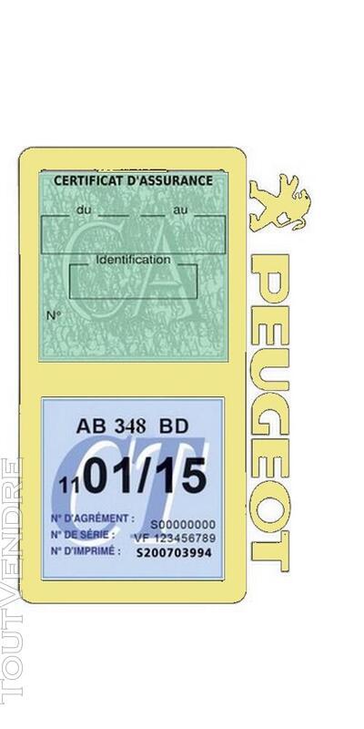 Porte vignette assurance voiture Peugeot double pochette 650691514