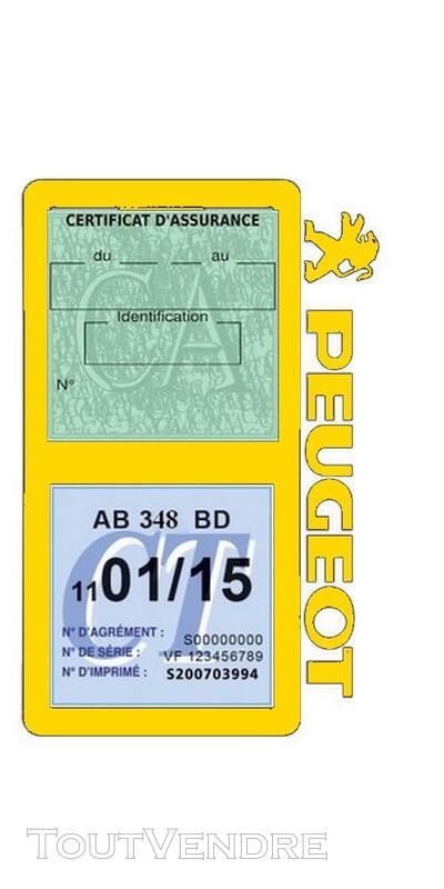 Porte vignette assurance voiture Peugeot double pochette 650691517