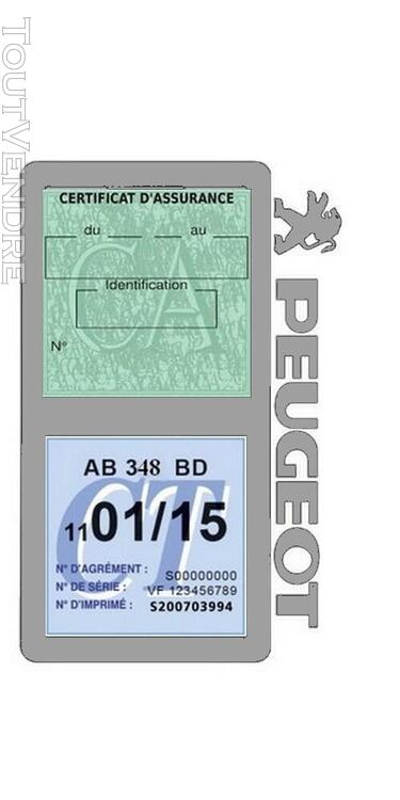 Porte vignette assurance voiture Peugeot double pochette 650691523