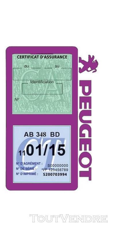 Porte vignette assurance voiture Peugeot double pochette 650691526