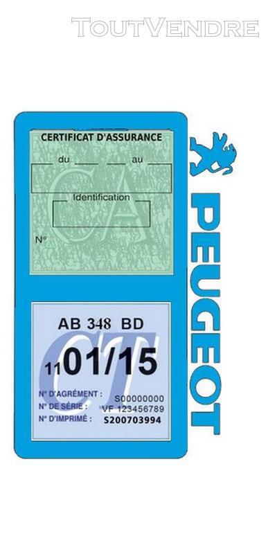 Porte vignette assurance voiture Peugeot double pochette 650691529
