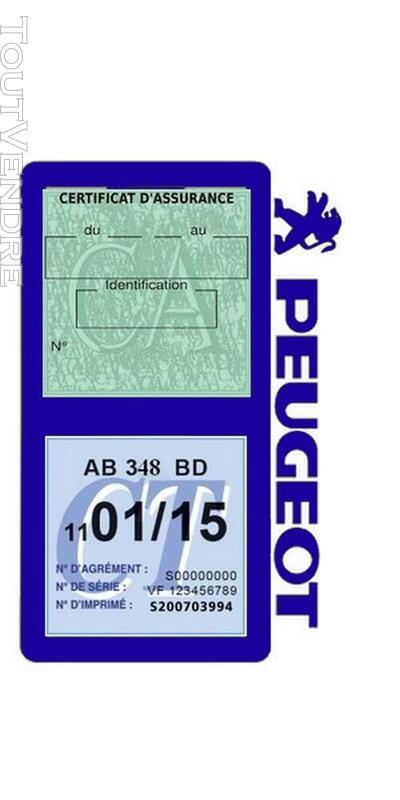 Porte vignette assurance voiture Peugeot double pochette 650691532