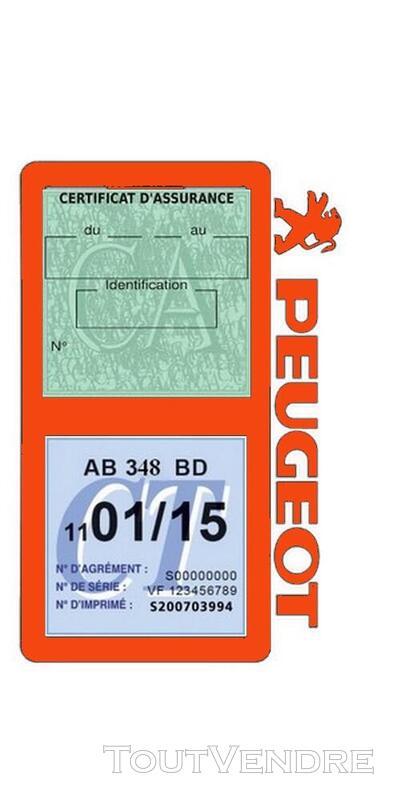 Porte vignette assurance voiture Peugeot double pochette 650691535