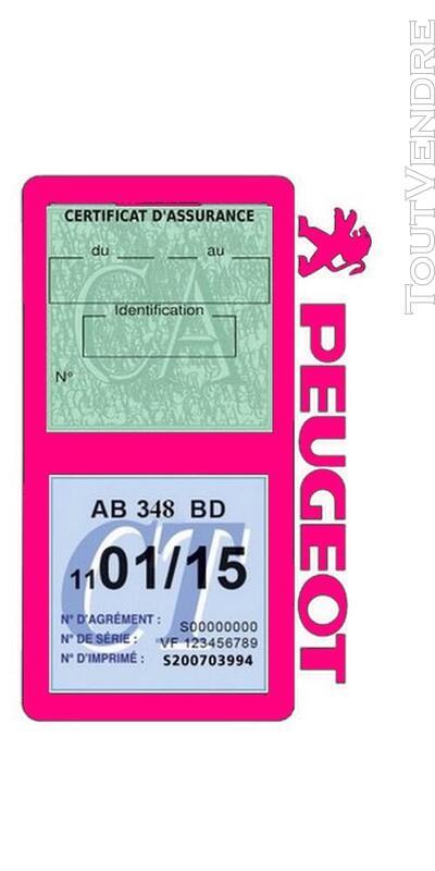Porte vignette assurance voiture Peugeot double pochette 650691538