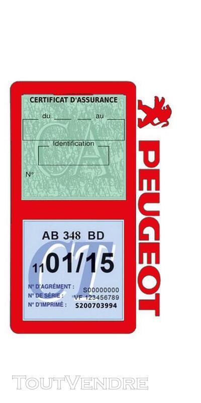 Porte vignette assurance voiture Peugeot double pochette 650691541