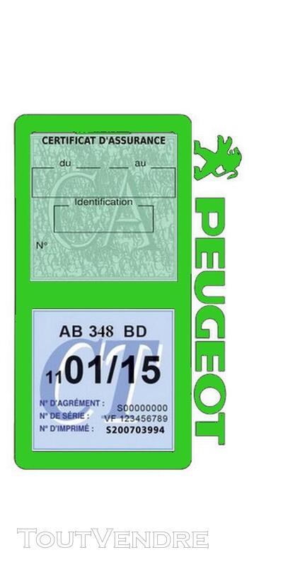 Porte vignette assurance voiture Peugeot double pochette 650691544