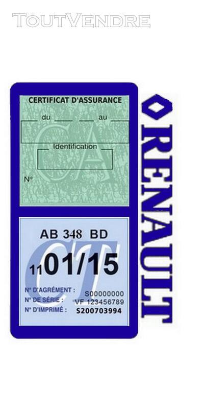 Porte vignette assurance voiture RENAULT double pochette 650691478