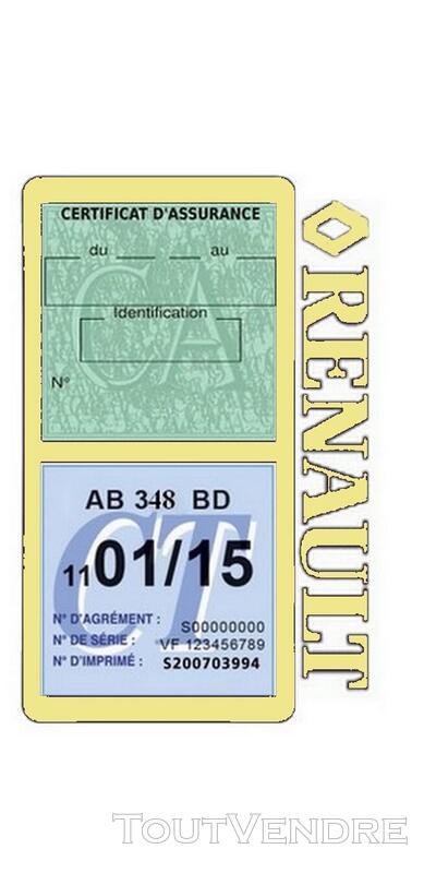 Porte vignette assurance voiture RENAULT double pochette 650691484