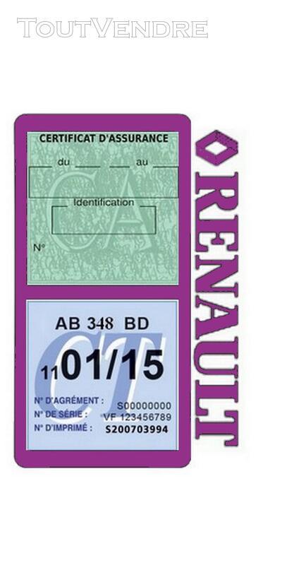 Porte vignette assurance voiture RENAULT double pochette 650691493