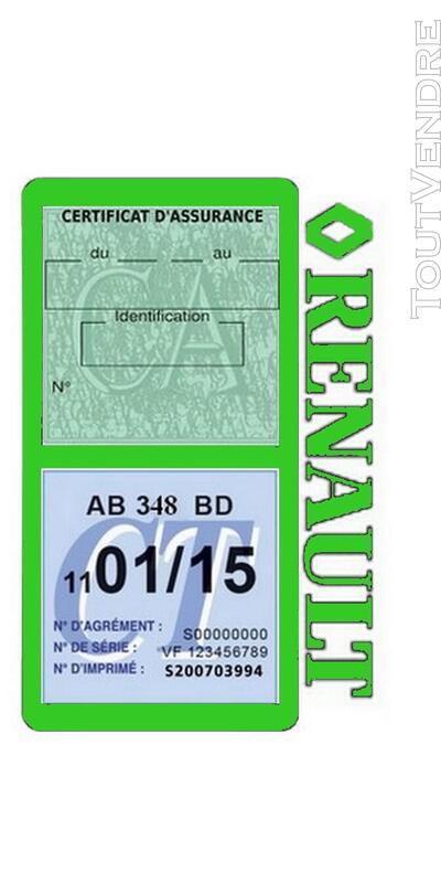Porte vignette assurance voiture RENAULT double pochette 650691499
