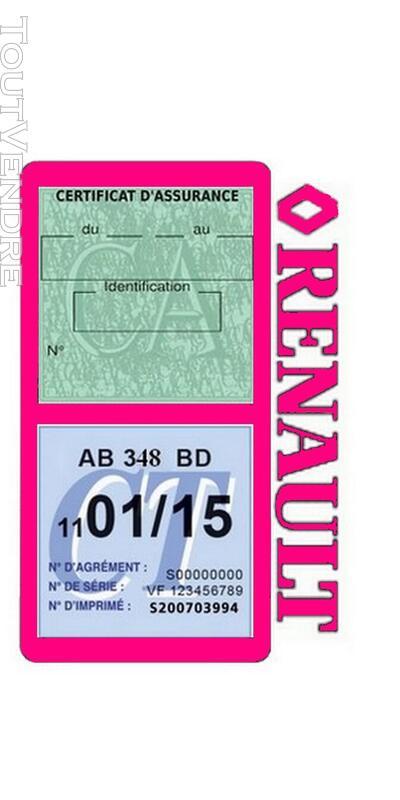 Porte vignette assurance voiture RENAULT double pochette 650691505