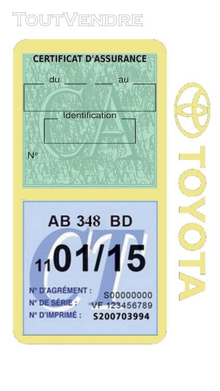 Porte vignette assurance voiture TOYOTA double pochette 650691403