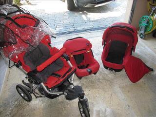 Poussette Slalom Pro trio Jane rouge avec nacelle et co