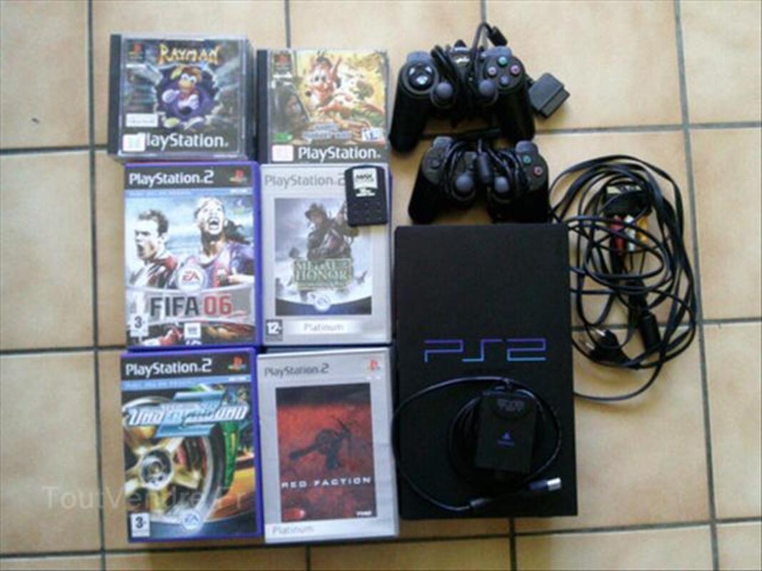 PS2 TBE + ACCESSOIRES + 2 MANETTES + CARTE  16 MB +JEUX 54547096