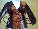 Pull haut marron orange et or 36