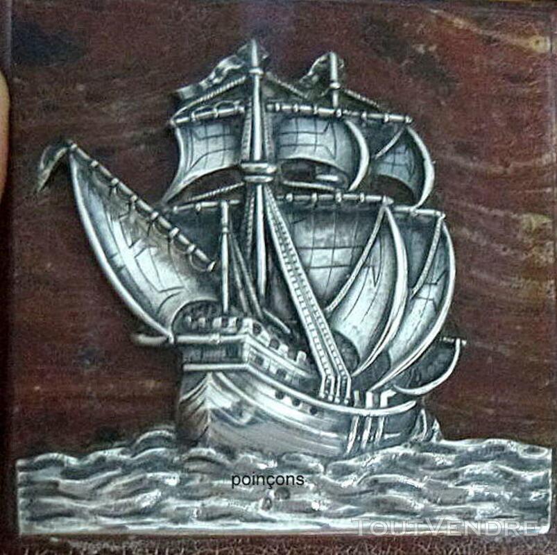 Rare petit tableau ancien  avec voilier en argent 340722173