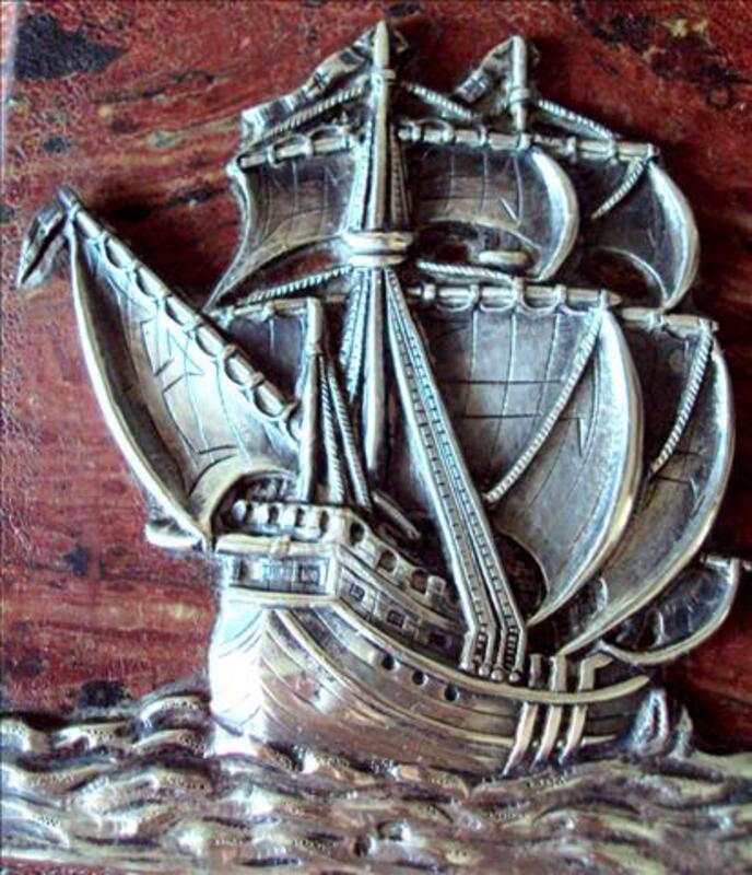 Rare petit tableau ancien  avec voilier en argent 60200668