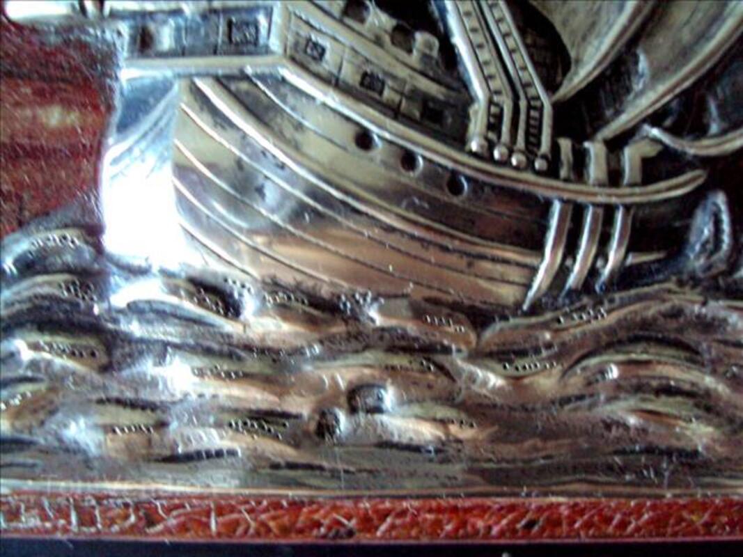 Rare petit tableau ancien  avec voilier en argent 60200669