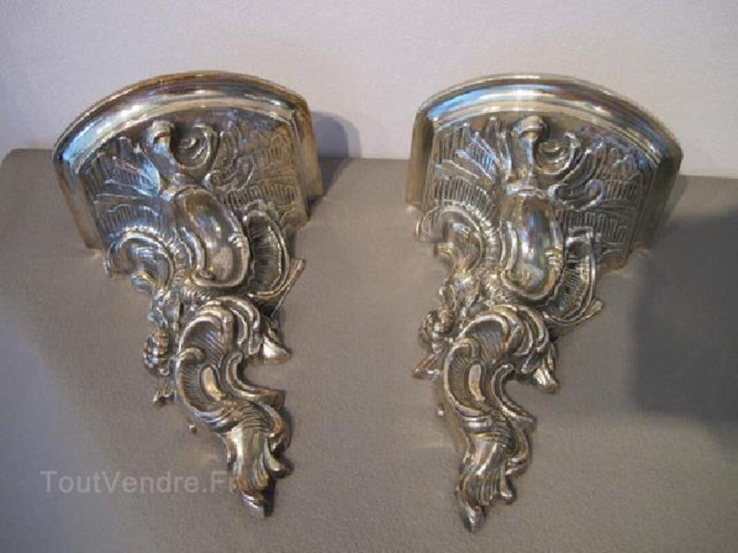 RARES Consoles d'applique style Louis XV bronze argenté 104457556