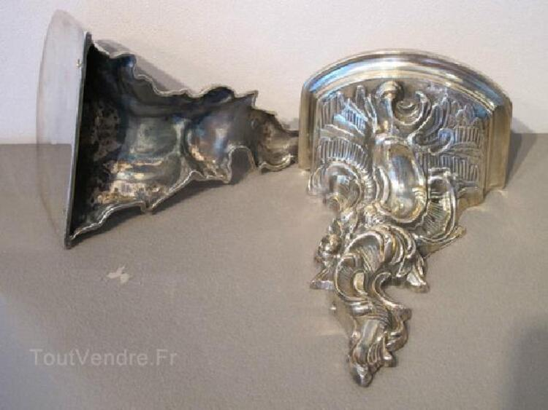 RARES Consoles d'applique style Louis XV bronze argenté 104457557