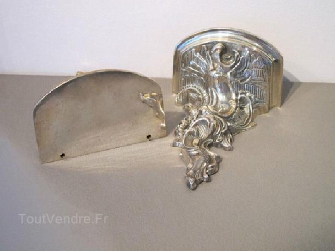 RARES Consoles d'applique style Louis XV bronze argenté 104457558