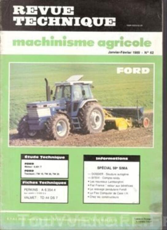 Revue Technique Machinisme Agricole N° 62 Tracteur FORD 49324732