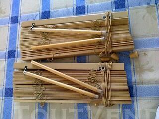 Rideau, store en bois hauteur environ 1 m (lot de 2)