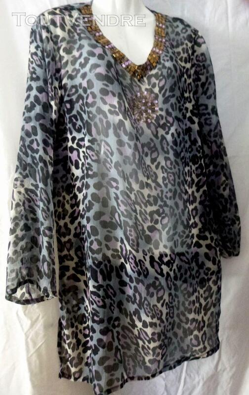 Robe tunique panthère violette 40 405961130
