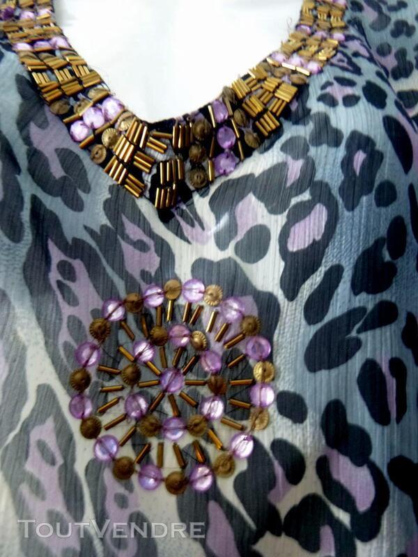 Robe tunique panthère violette 40 405961133